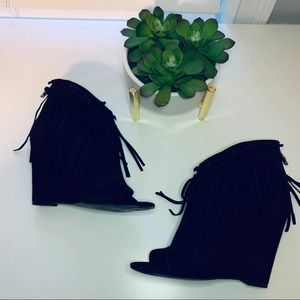 Ash Open Toe Black Fringe Leather Janis Booties 37